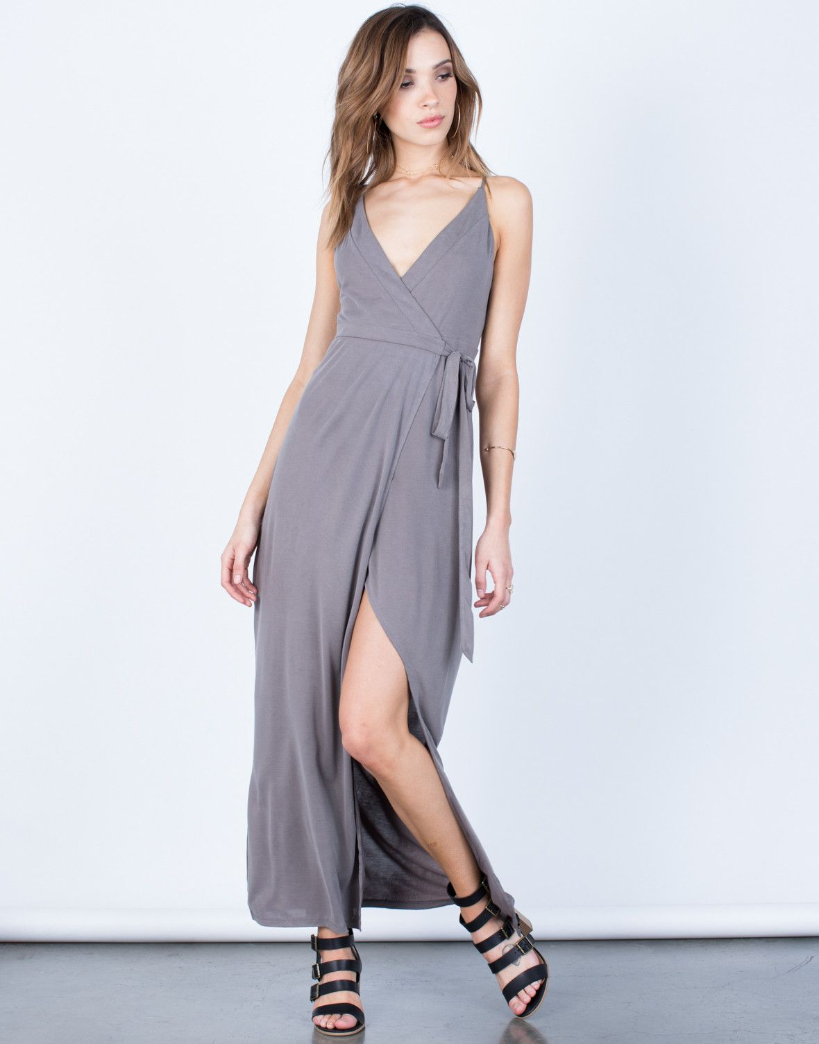 Front View of Wrap Maxi Dress #2020AVExLET'SGETAWAY I love simple, comfortable dresses for hot summer days!