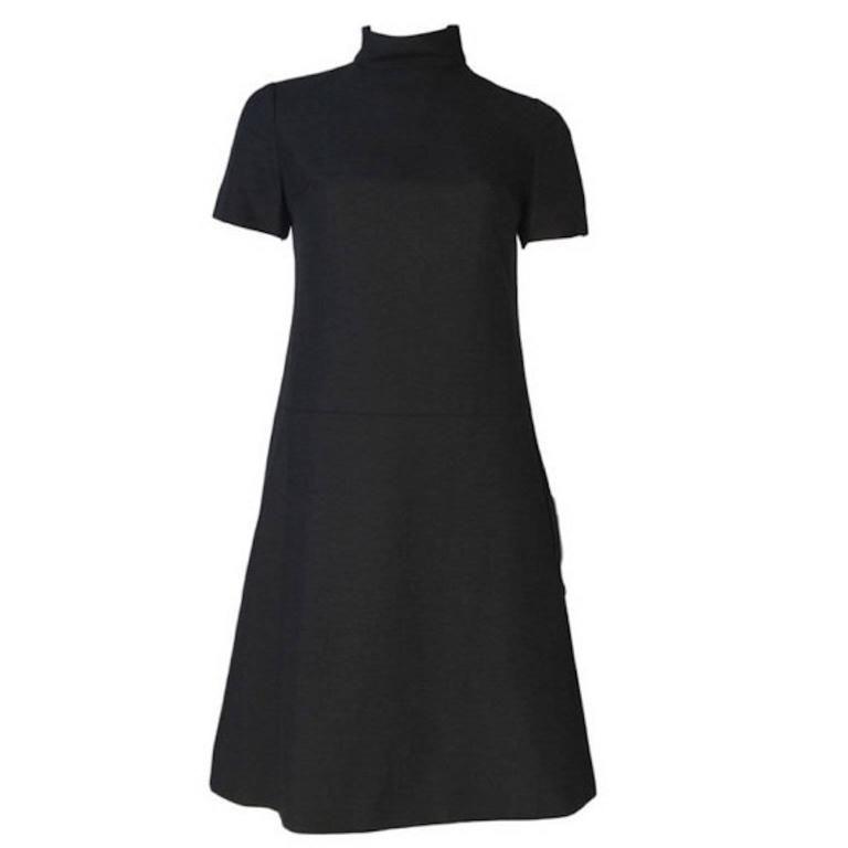 1960s Christian Dior Diorling Black Woven Cotton Mini Dress & Coat Vintage 8 Set