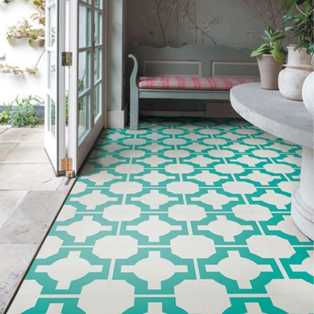 Parquet turquoise flooring by neisha crosland for harvey for Kitchen and bathroom lino