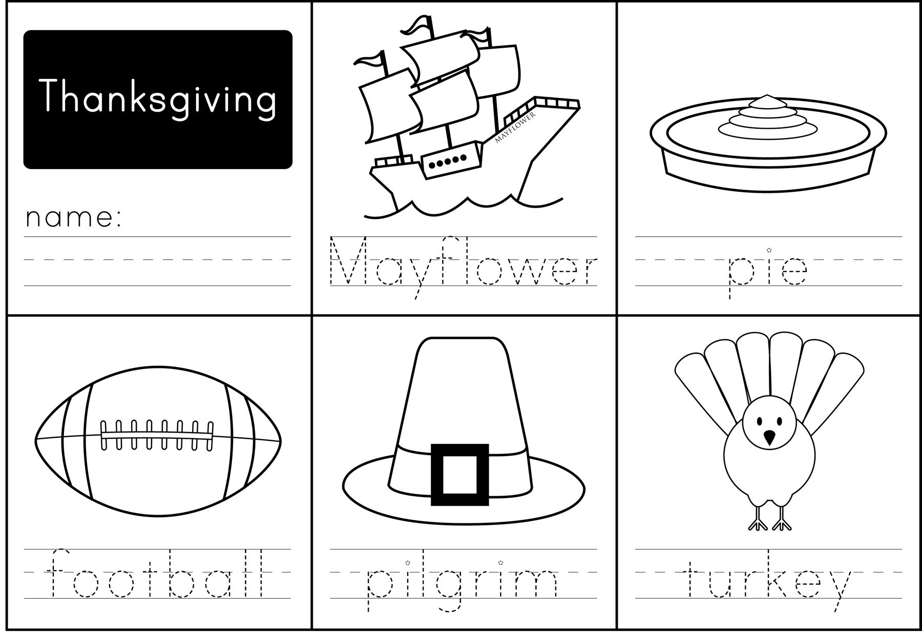 Thanksgiving Words :: All new worksheet for your little ones to practice writing simple Thanksgiving
