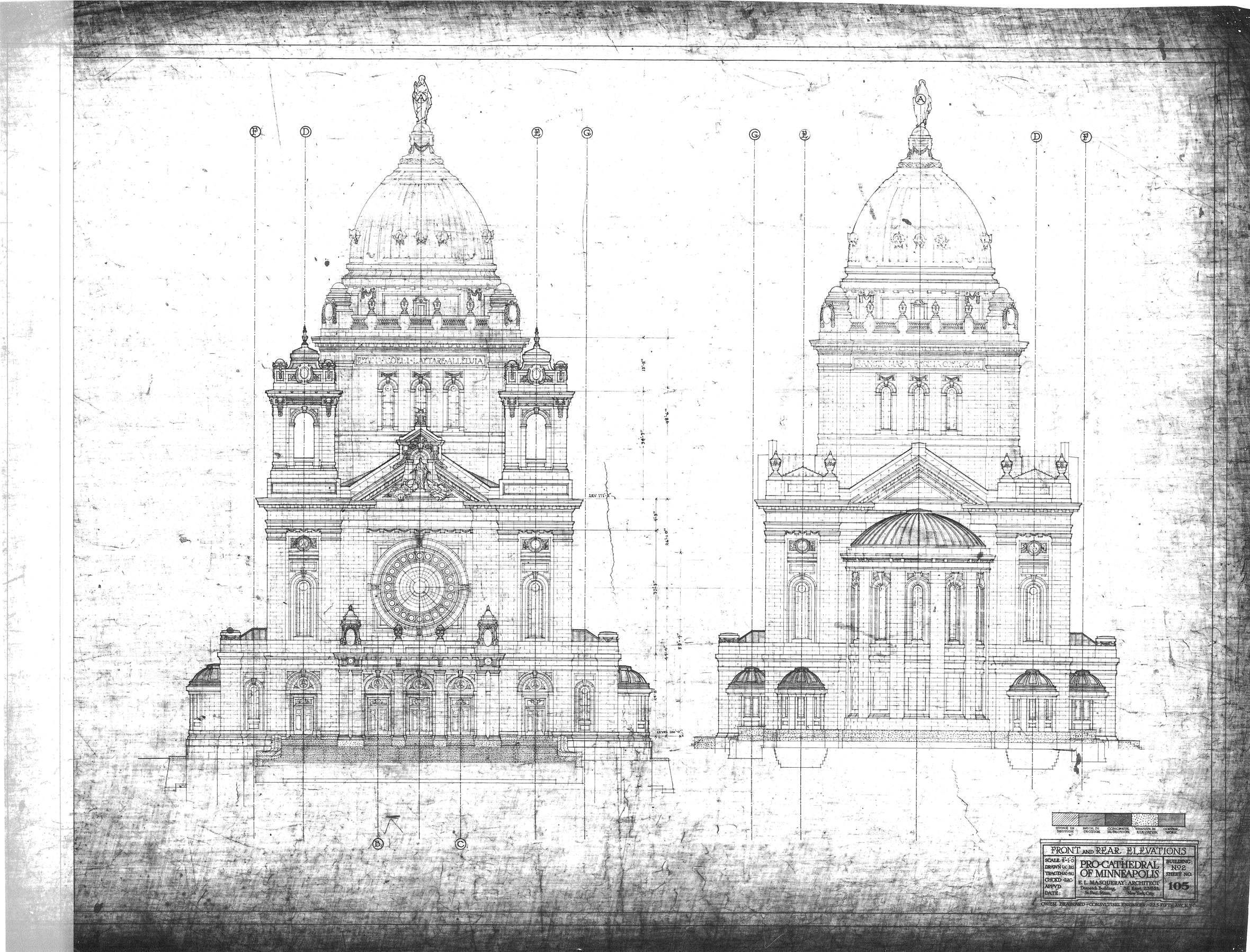 Vintage blueprint front and rear elevations basilica of saint mary vintage blueprint front and rear elevations basilica of saint mary church pro cathedral of minneapolis el masqueray architect building no malvernweather Images