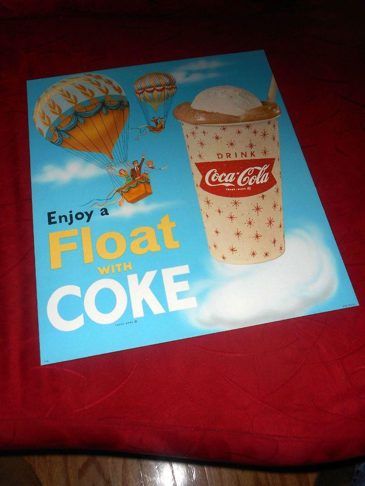 Coca Cola 1950s Enjoy A Float With Coke Cardboard Display-Easel Back-MINT!