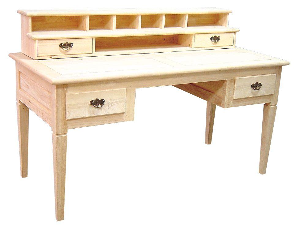 Bureau Hevea 4 Tiroirs 7 Niches 150x70x75cm Tradition Mobilier De Salon Bureau Bois Massif Bureau Bois