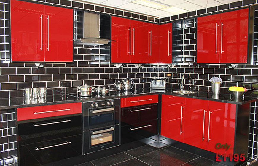 Red Used Kitchen Cabinets Black Tile Wall Design Apron Front .