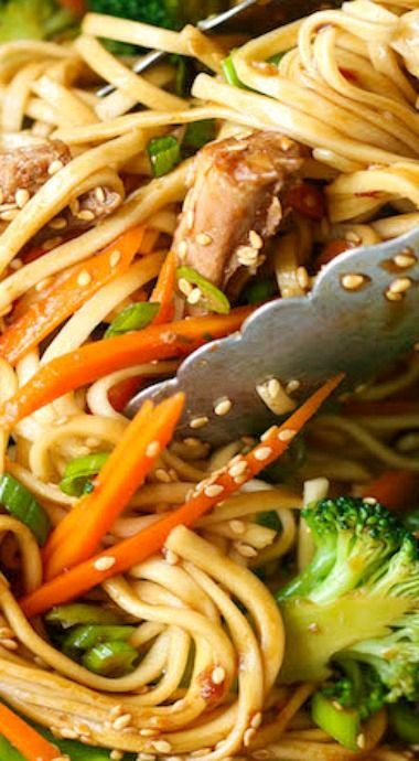 Slow Cooker Lo Mein #healthycrockpotrecipes
