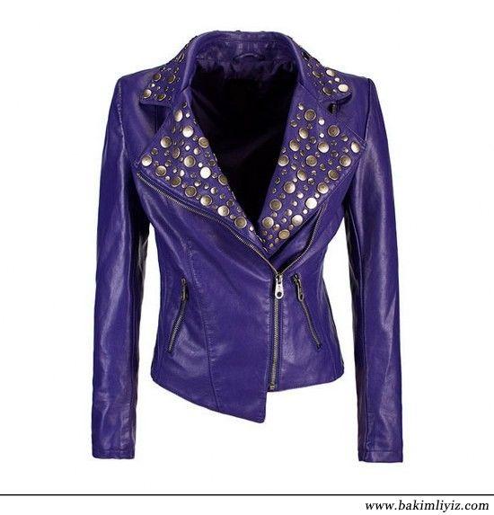 Zimbali Mor Deri Ceket Moda Stilleri Deri Ceket Purple Fashion