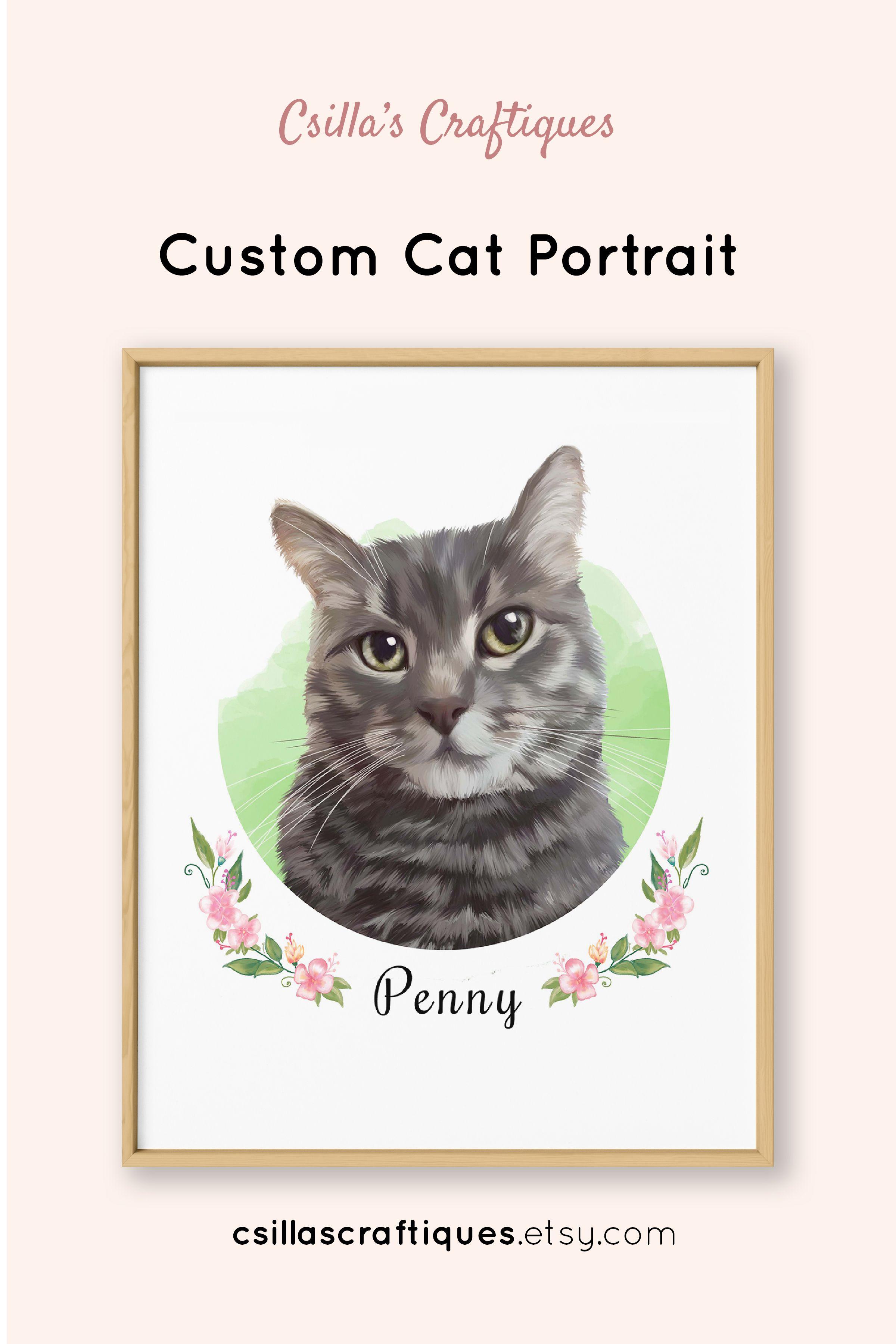 5da97e513894 Custom cat portrait painting, cat lady gift idea for birthday, lovely cat  home decor. Order here << #cat #kitten #catlady #catlover #catmom #birthday  ...