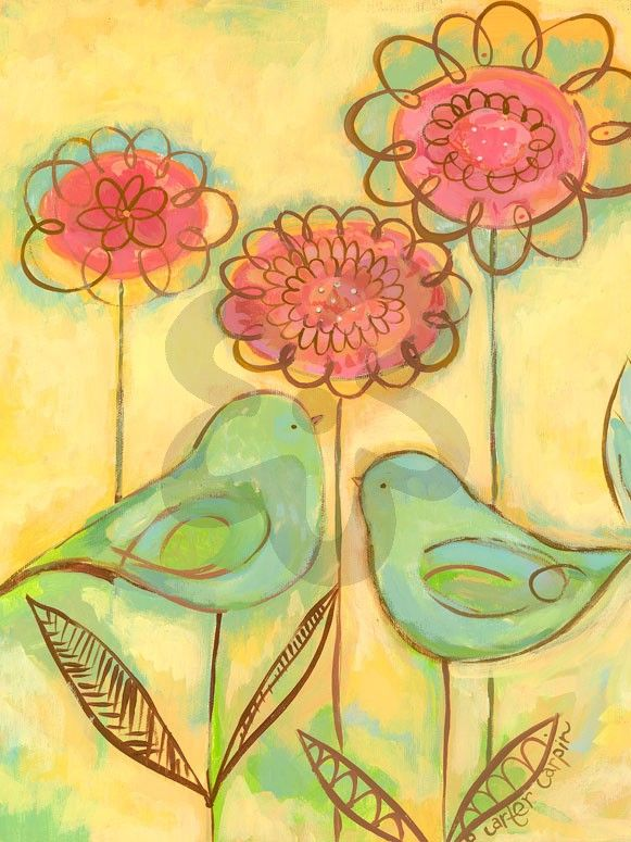 Green Love Birds - Birds Canvas Wall Art | Oopsy daisy | Birds Art ...