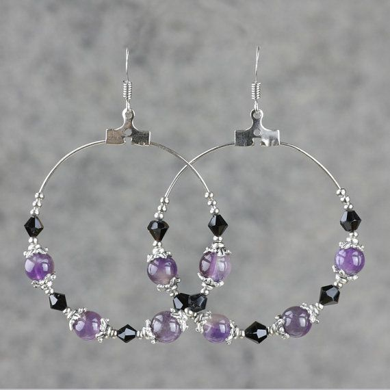 Amethyst big hoop earrings handmade anni designs by AnniDesignsllc, $12.95