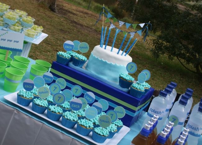 Pool Birthday Party Dessert Table Spaceships And Laser Beams