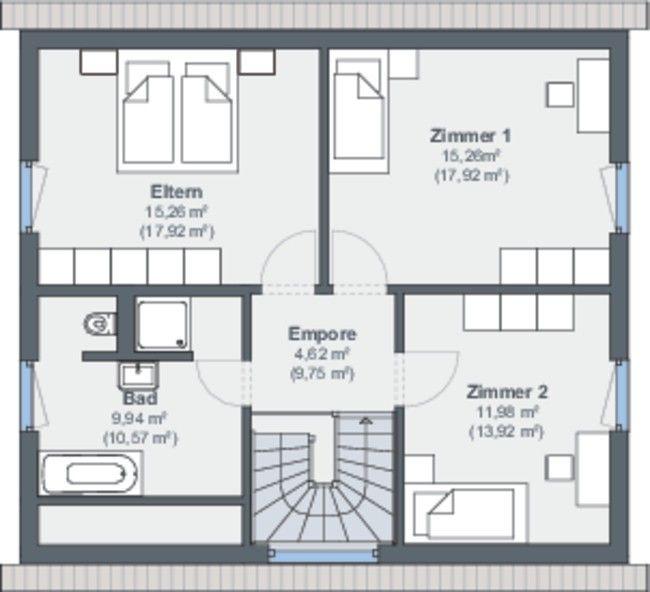 #weberhaus #Fertighaus #holzbauweise #Grundriss #obergeschoss #Schlafzimmer  #bad #tlösung