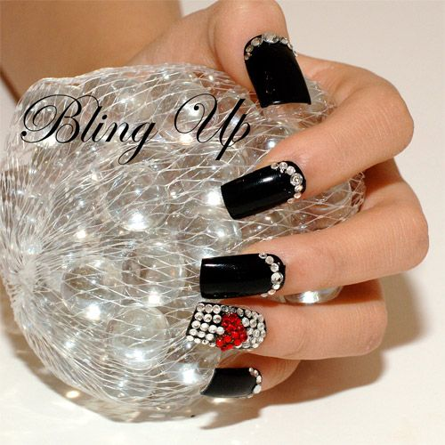 Deep Black Nail Tips With Red Heart Shaped Swarovski