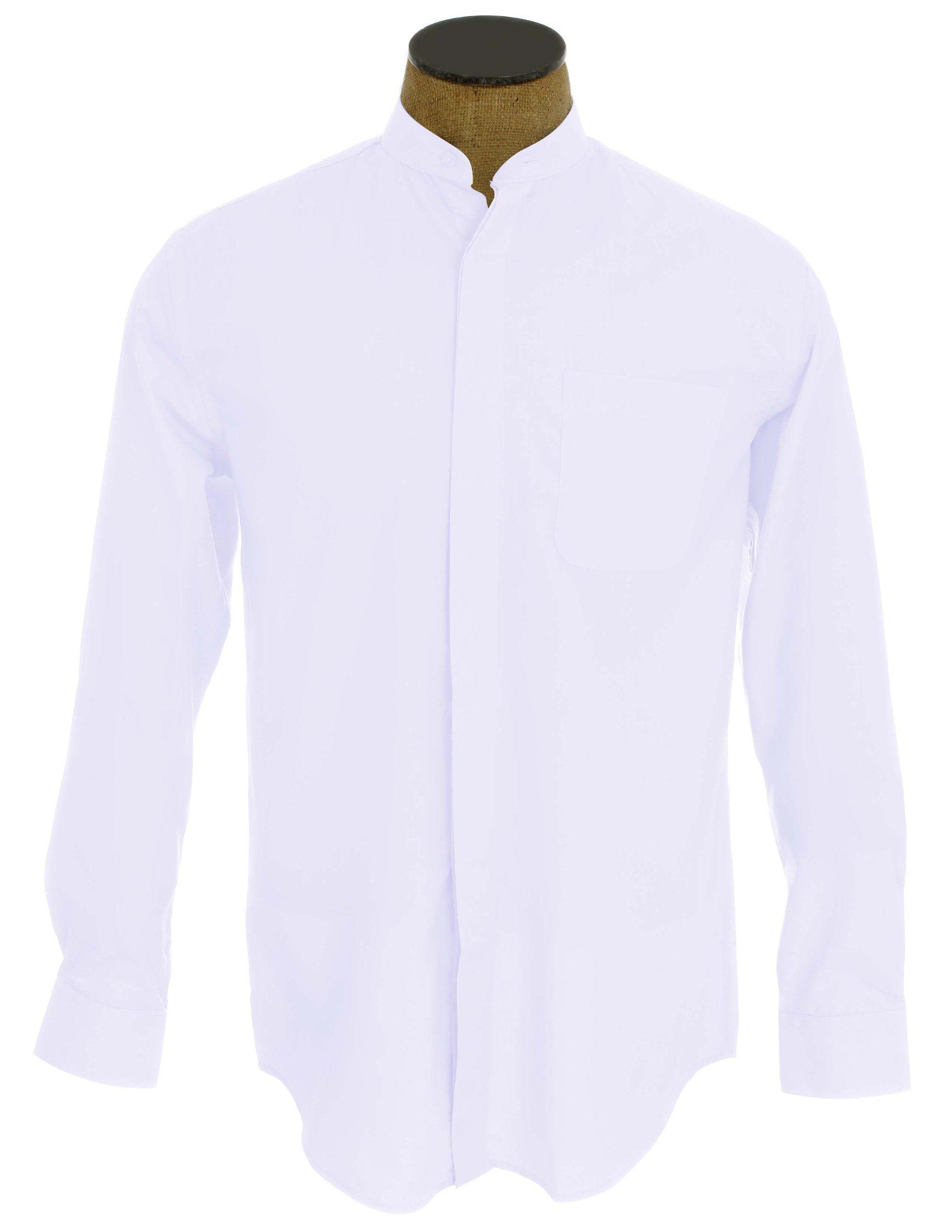 Men 39 s collarless banded collar dress shirt white 17 5 36 for Collarless white shirt slim fit