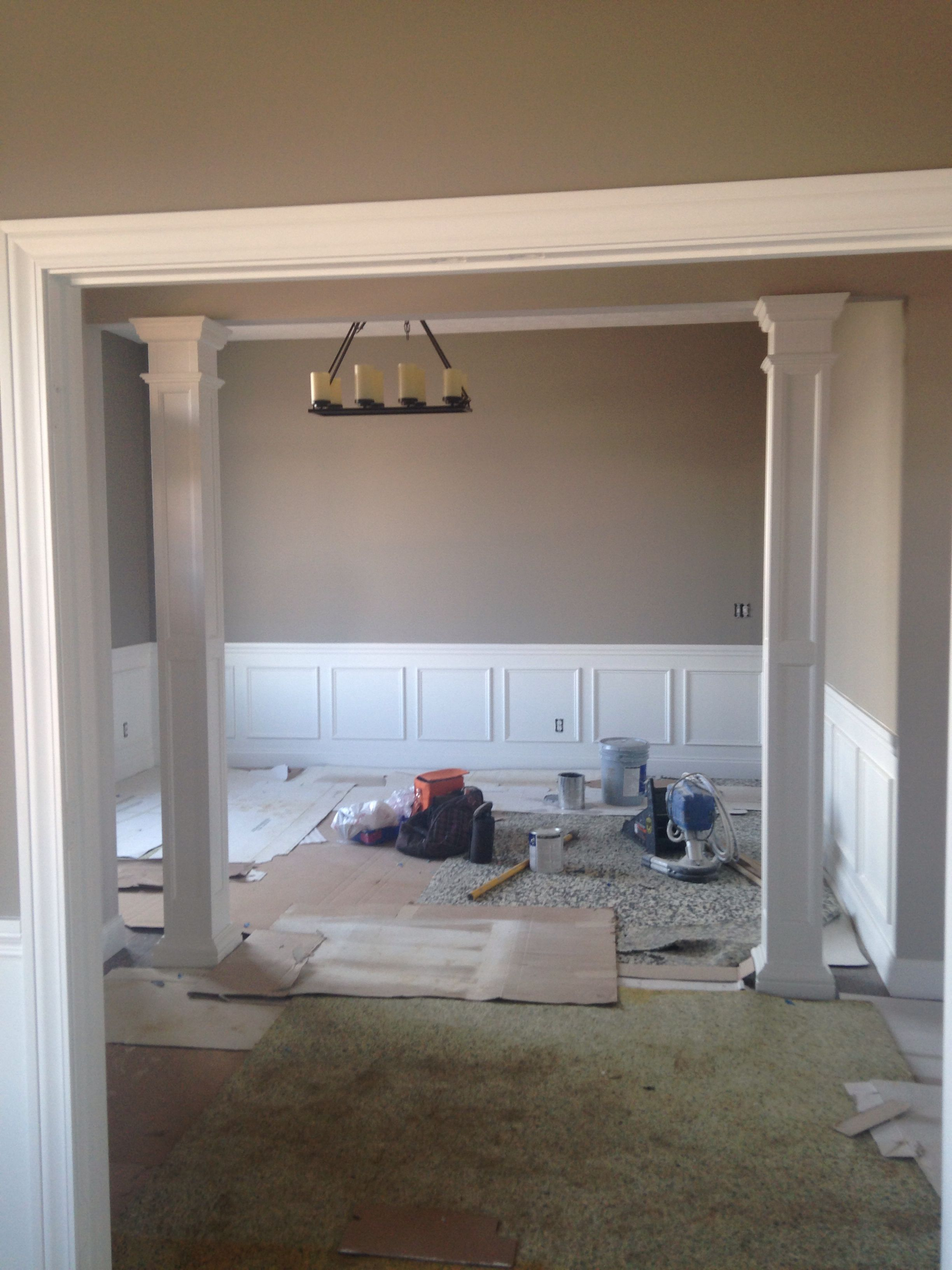 Columns outside of dining room paint pavestone by sherwin williams
