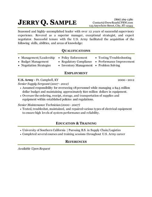 Military Resume Example Job Resume Examples Resume Examples Free Resume Examples