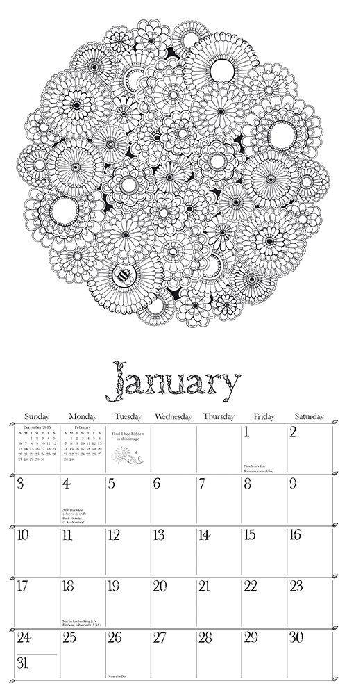 Secret Garden 2016 Wall Calendar: An Inky Treasure Hunt