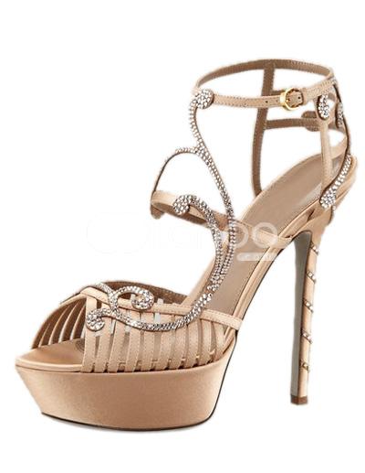 Glittery Rhinestone Sheepskin Strappy Stiletto High Heel Dress Sandals - Milanoo.com