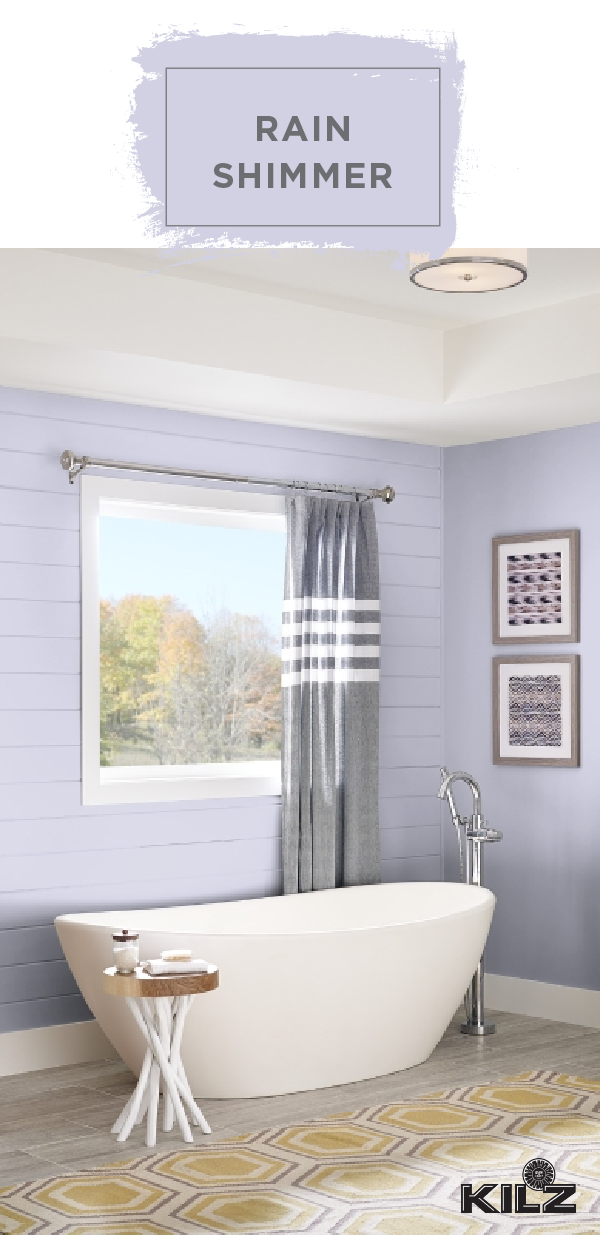 The Light Gray Hue Of Rain Shimmer By Kilz Complete Coat Paint Primer In One Is Just What This Bathroom Needs A Coastal Inspired Bathrooms Kilz Paint Shades