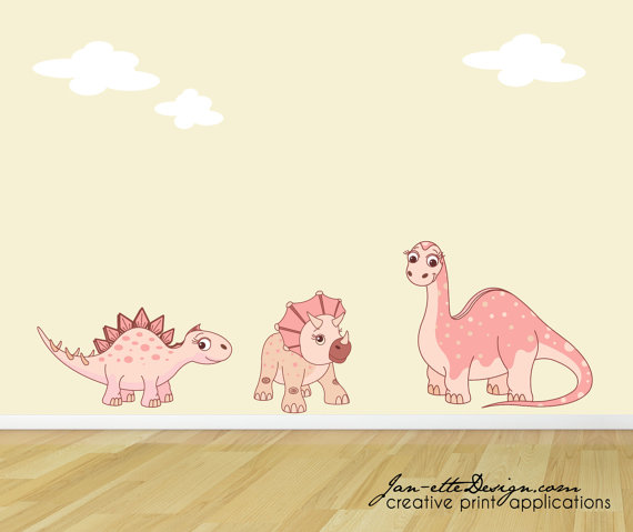 Girl Wall Decalspink Dinosaur Wall Stickersdinosaur Fabric Etsy