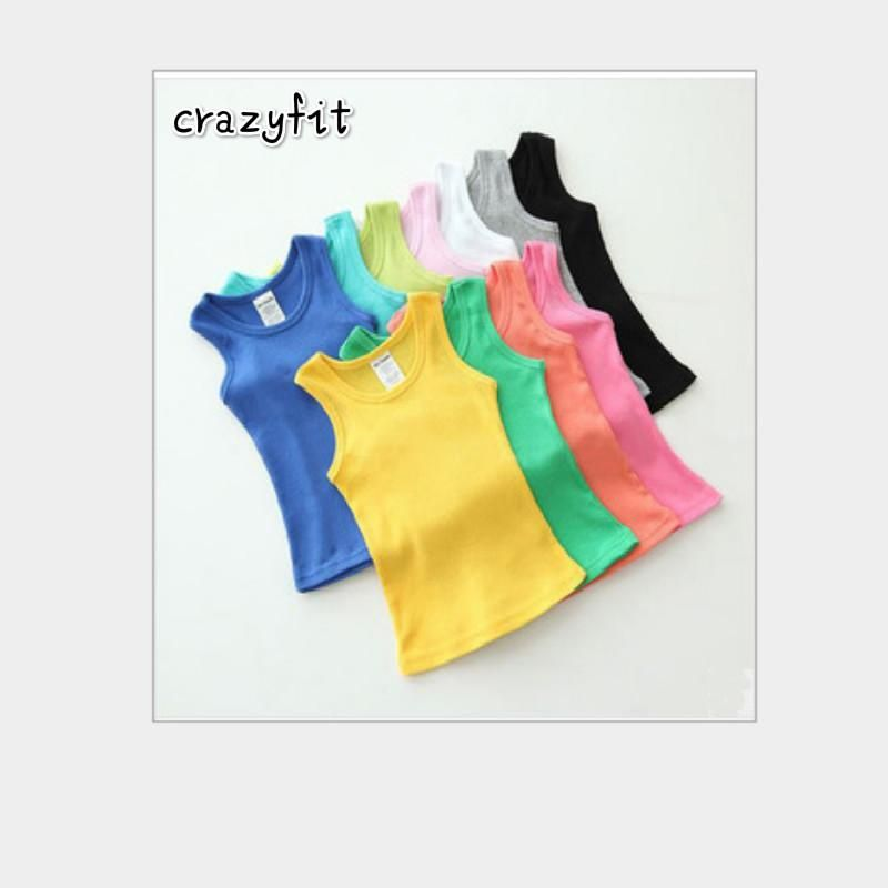 2954a94945e6 2-8T Children T Shirts Summer Style Boys Girls Clothes Vest Cotton Casual  Sleeveless kids Candy Colors Sport Vests Out Wear