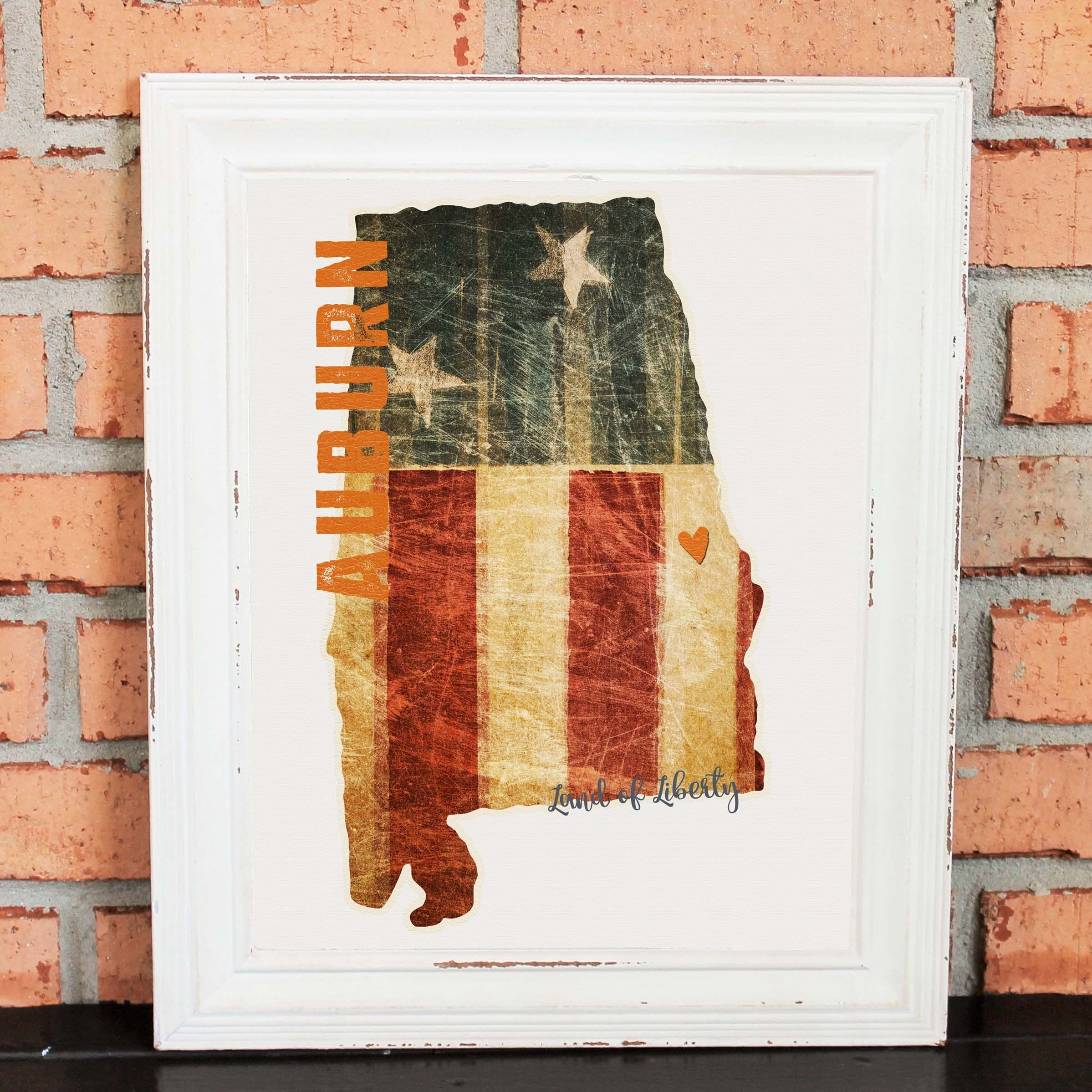 Auburn Alabama - College Pride Wall Art - Auburn Artwork - Land of Liberty - American Flag - Orange and Navy - Man Cave Artwork - College Decor - UNFRAMED ... & Auburn Alabama - College Pride Wall Art - Auburn Artwork - Land of ...