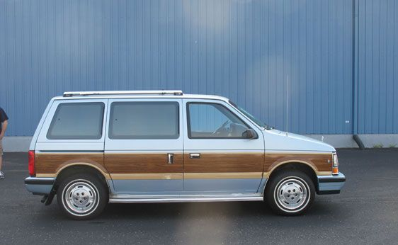 1988 Dodge Caravan Ours Was Dark Blue With The Wood Sides My Sister Went Off To College In This Car