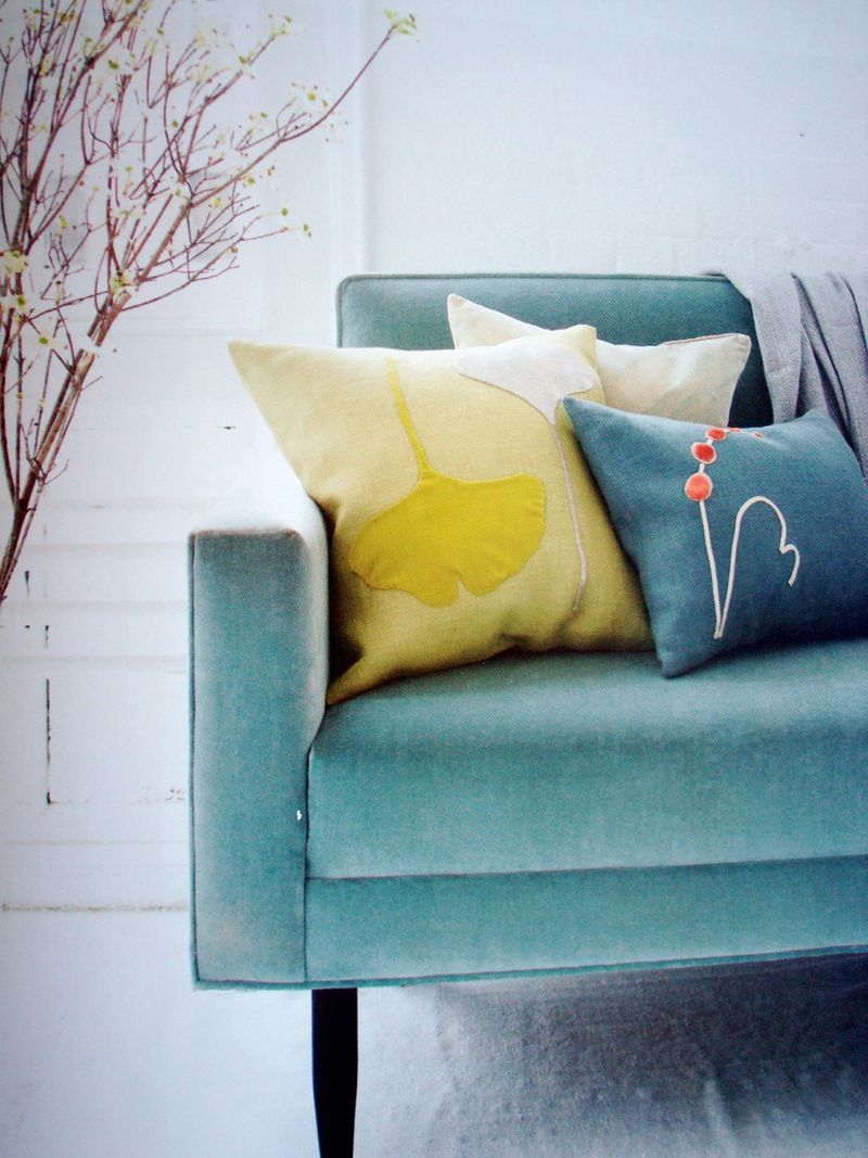 Turquoise Teal Accent Pillow Yellow Decor Colorful Interiors #turquoise #pillows #living #room