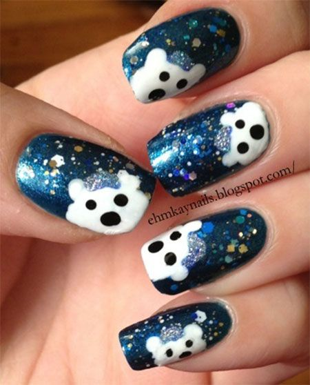 easy polar bear nail art designs ideas 2013 2014 for. Black Bedroom Furniture Sets. Home Design Ideas