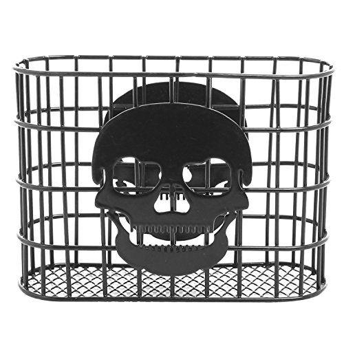 Metal Wire Paper Towel Dispenser MyGift Skull Design Tabletop Napkin Holder Black