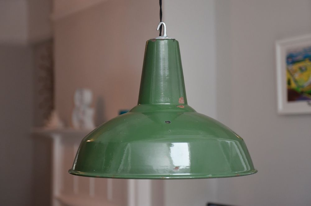 f866dc5fba10 Very Large Vintage Industrial Enamel Factory Pendant Light Lamp Shade 18  inches