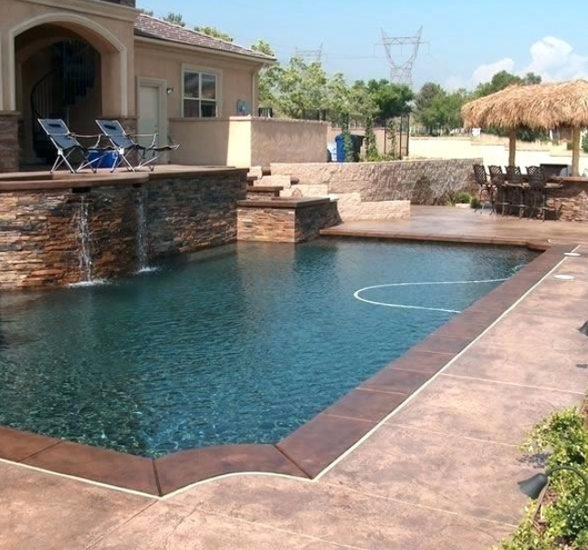 13 Alluring Pool Deck Ideas For You And Your Family Concrete Pool Swimming Pool Decks Painted Pool Deck