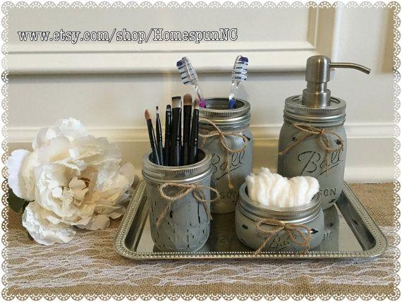 Mason Jar Bathroom Set Vanity Tray 5 Pieces Mason By HomespunNC