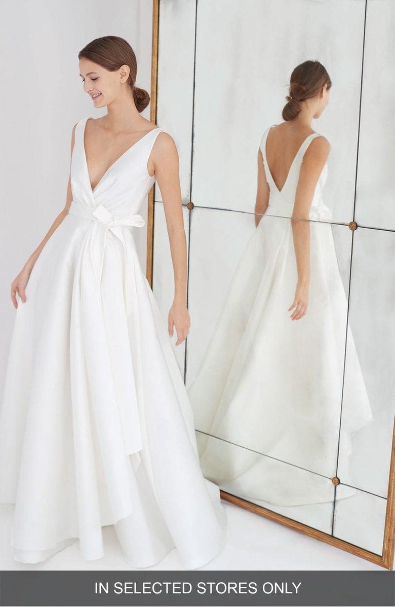 Free Shipping And Returns On Carolina Herrera Gardenia Mikado Side Drape Gown At Nordstrom Com Carolina Herrera Wedding Dress Herrera Wedding Dress Drape Gowns