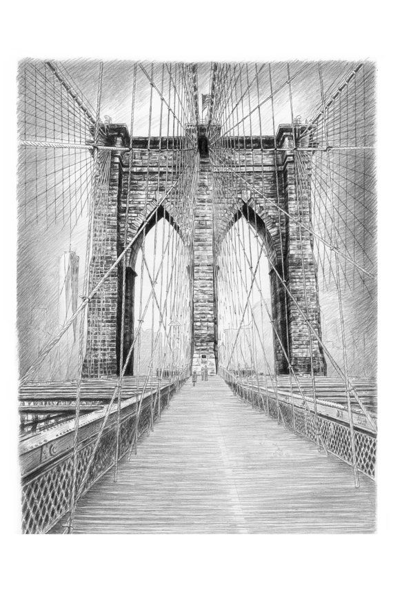 Brooklyn bridge new york city art print of original pencil sketch black and white sketches