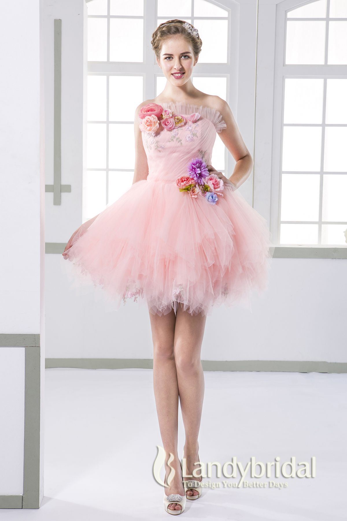 ウェディングドレス ミニ カラフルお花ドレス ビスチェ 二次会ドレス ...