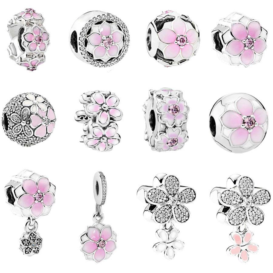 0d7052905a49ab Il trasporto libero 1 pz argento chiaro primavera rosa Magnolia fiore clip  o bead charms Adatto Braccialetti Europei di Fascino Pandora mix020