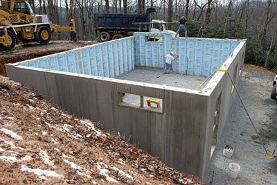 Installing Precast Concrete Foundation Wall Panels Set On