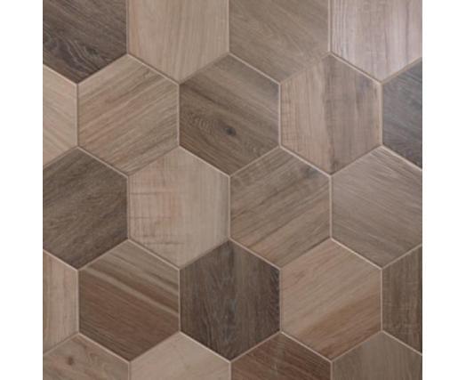 Porcelain Hexagon 8 Inch Wood Look Tile Nut Plain