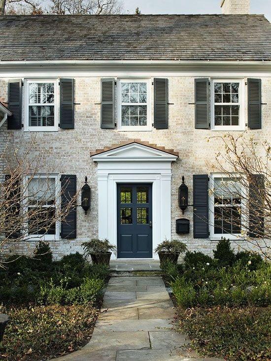 All Hale Navy Homework Design Co Colonial Exterior Facade House Exterior Brick