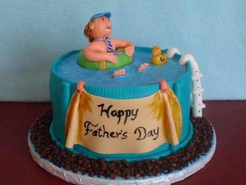 Torta per la festa del papà a tema piscina