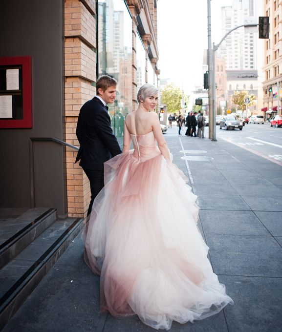 Glam pink ombre ballgown for a civil ceremony elopement at for Pink wedding dress vera wang