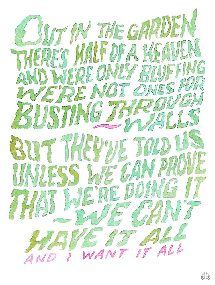 """Hand-lettered lyrics by David Birkey. #11 From """"Suspended in Gaffa ..."""