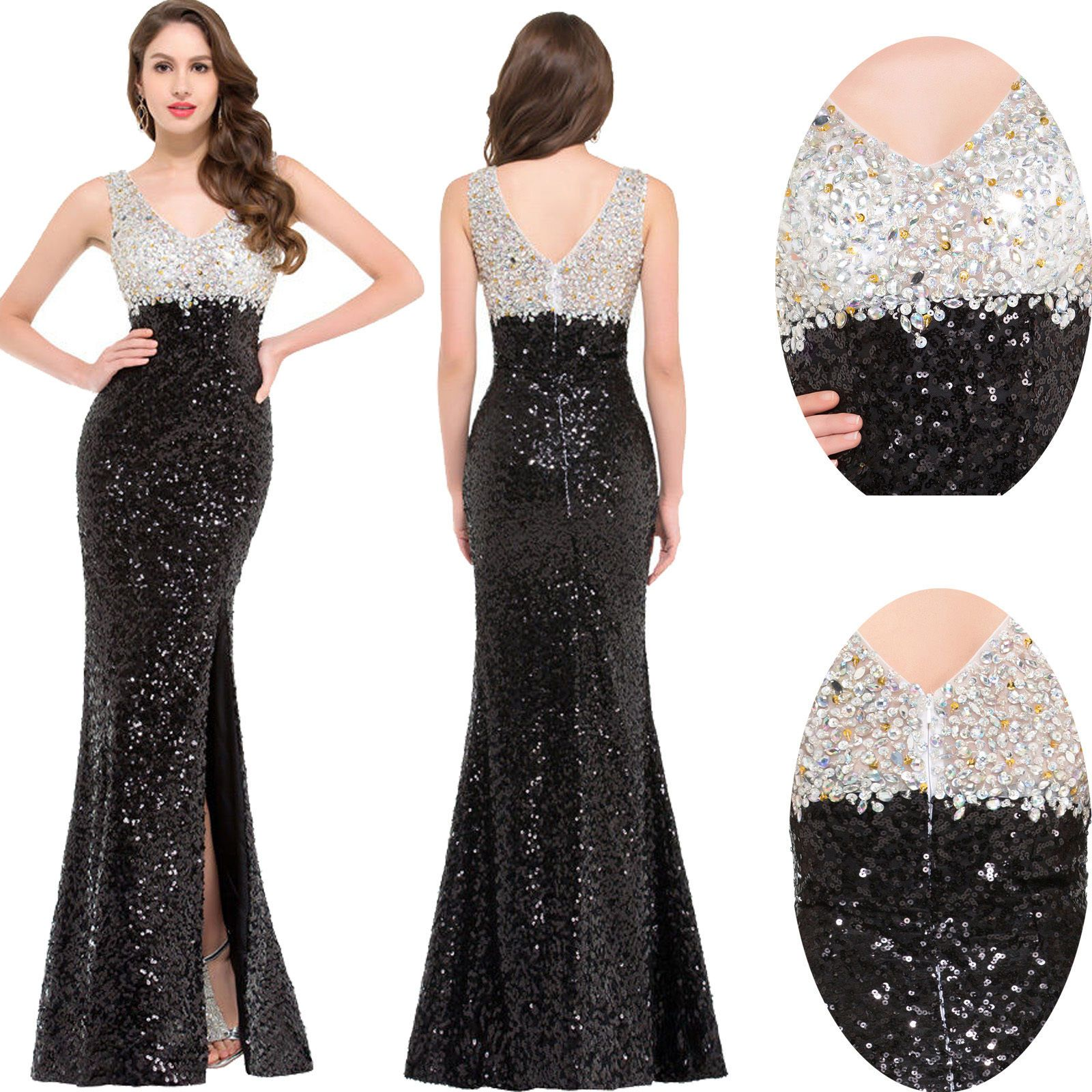 cb4c0d64b064 Sexy Long Sequins Formal Evening Ball Gown Party Prom Cocktail Bridesmaid  Dress