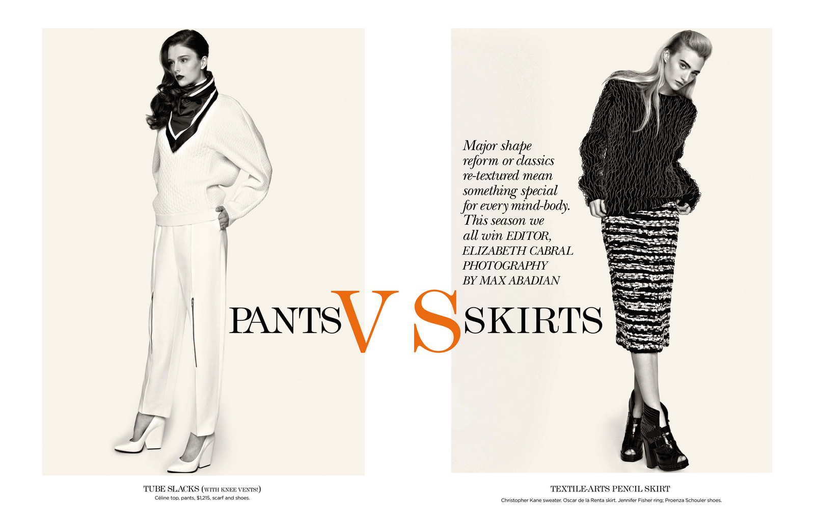 pants vs skirts: addison gill and cailin hill by max abadian for flare november 2012 | visual optimism; fashion editorials, shows, campaigns & more!