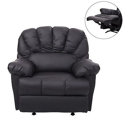 Homcom Leather Rocking Sofa Single Recliner Chair Black Cushion Recliner Chair Single Sofa