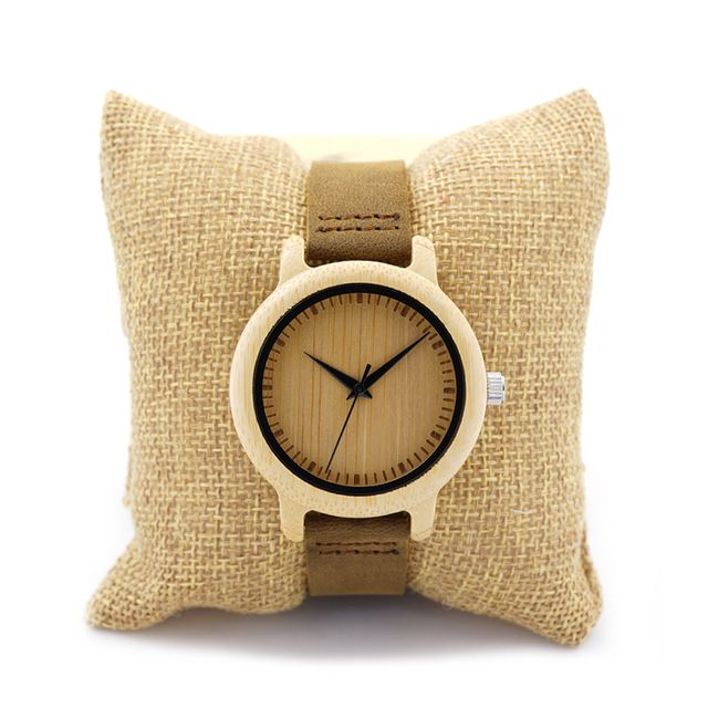 Unique Vogue Para Mujer De Bambú De Madera Reloj de Cuarzo Deporte Al Aire Libre Relojes Montre Femme Reloj Con Correa de Cuero