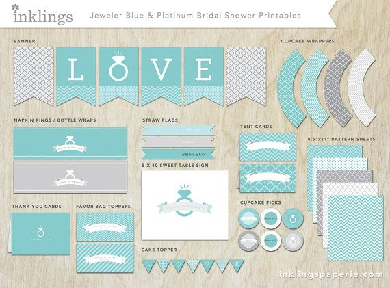 bridal shower decorations printable jeweler blue platinum collection on etsy 2000