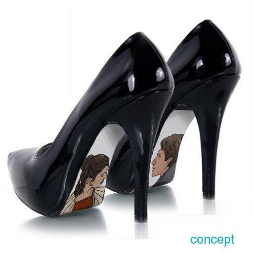 Custom hand painted Princess Leia and Han Solo Shoes. $55.00
