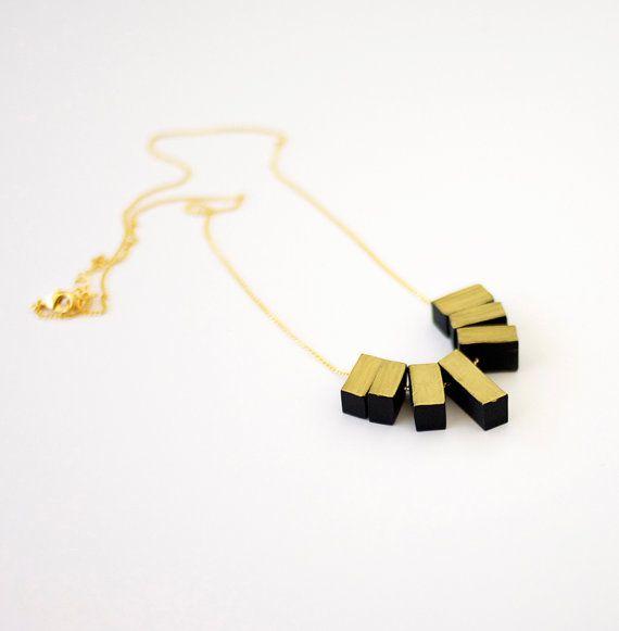 black/gold fringe necklace from AMM