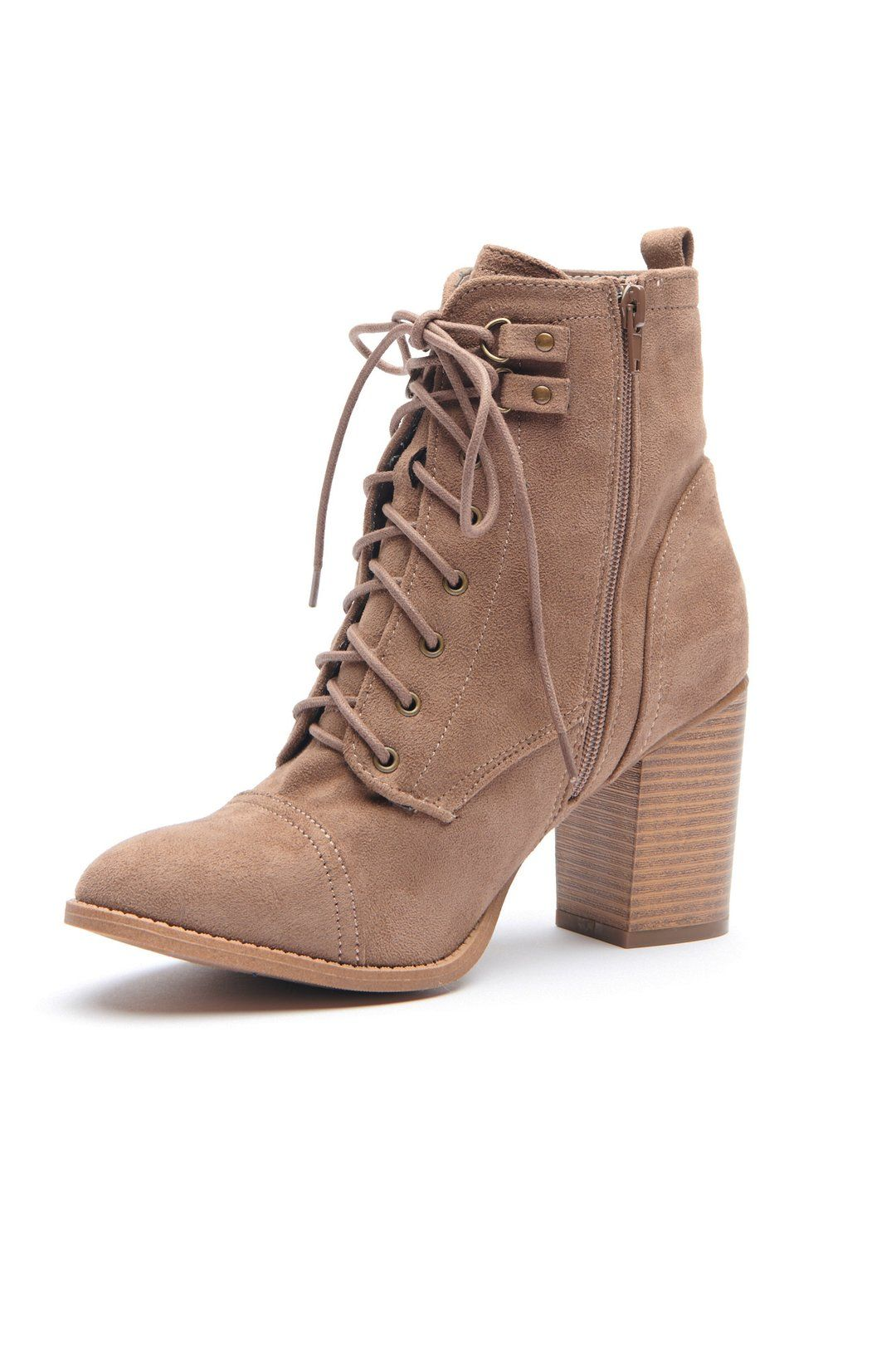 f5734d2f92a The Next Step Lace Up Booties (Taupe)